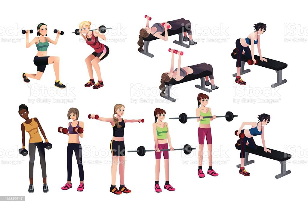 Women exercises with weights vector art illustration