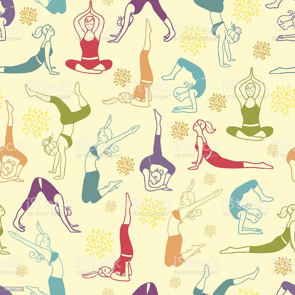 Women Exercising Seamless Pattern Background royalty-free stock vector art