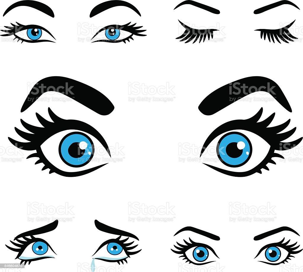 women eyes expressions set 2