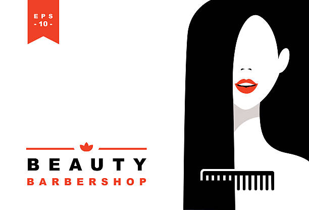 Women face and comb silhouette vector art illustration