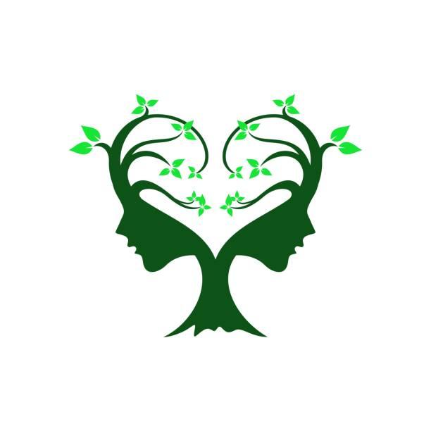 frauen gesicht tree vector illustration - pflanzenhaar stock-grafiken, -clipart, -cartoons und -symbole