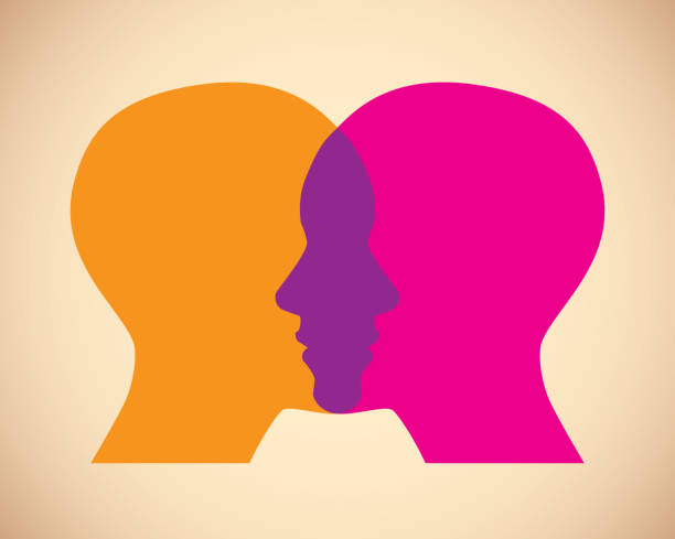 Women Faces Overlapping Vector illustration of two orange and pink women's faces against a tan background in flat style. two people stock illustrations