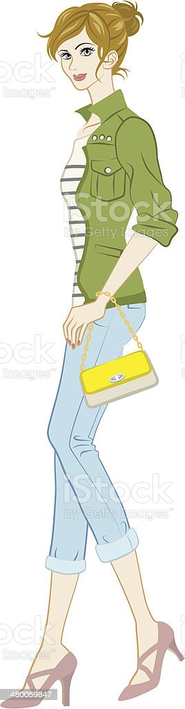 Women fashion, Casual Style, Full Length, royalty-free stock vector art