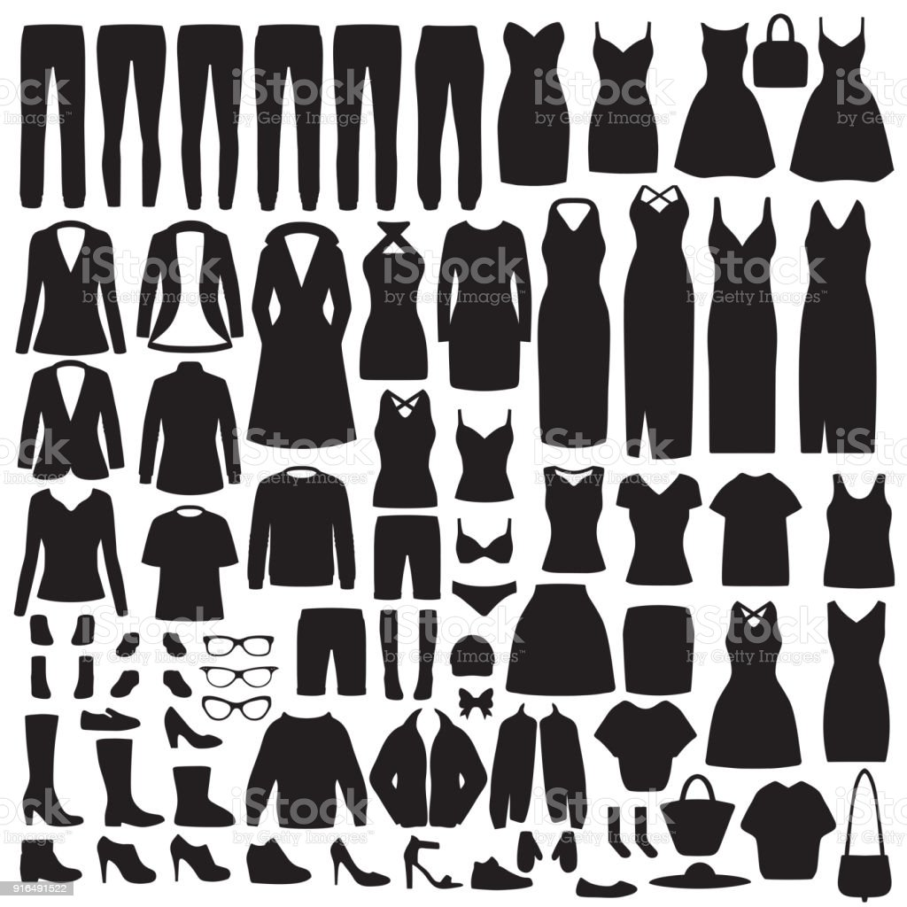 women fashion clothes silhouette, dress, shirt, shoes, jeans, jacket collection royalty-free women fashion clothes silhouette dress shirt shoes jeans jacket collection stock illustration - download image now