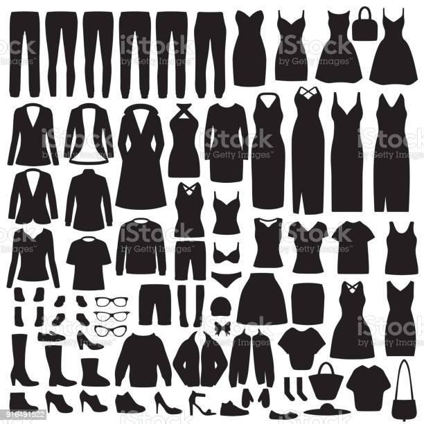 Women fashion clothes silhouette dress shirt shoes jeans jacket vector id916491522?b=1&k=6&m=916491522&s=612x612&h=uww9sszf25su4gj9hthhszddre5uooexptfqz2anmku=