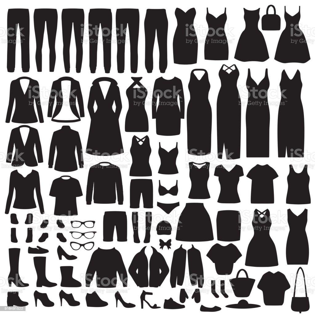 moda mujer ropa silueta, vestido, camisa, zapatos, jeans, colección de la chaqueta - ilustración de arte vectorial