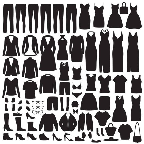 女裝服裝剪影, 連衣裙, 襯衫, 鞋, 牛仔褲, 夾克收藏 - 衣服 幅插畫檔、美工圖案、卡通及圖標