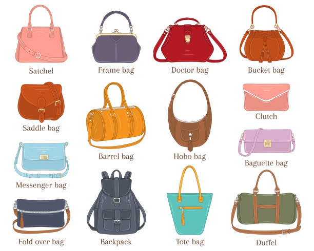 illustrazioni stock, clip art, cartoni animati e icone di tendenza di women fashion handbags collection, vector  illustration. - borsetta