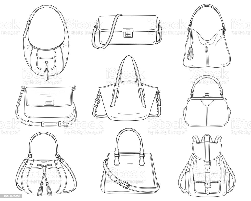 Femmes Mode Collection De Sacs À Main Illustration De Dessin