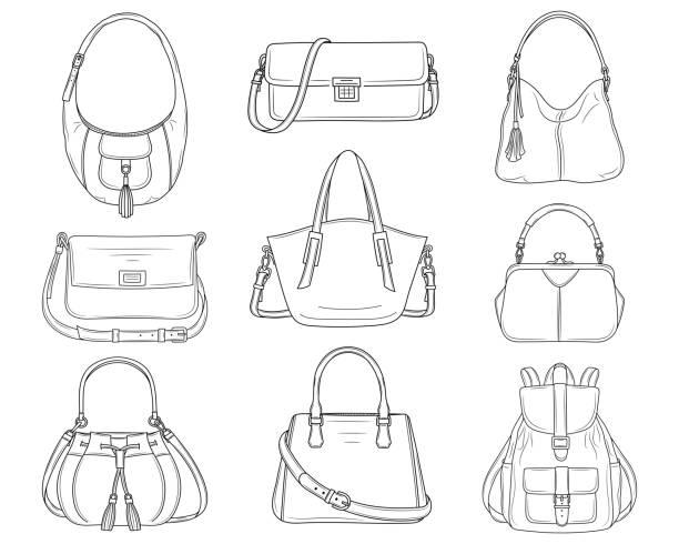 frauen mode handtaschen kollektion, skizze vektorgrafik. - lederranzen stock-grafiken, -clipart, -cartoons und -symbole
