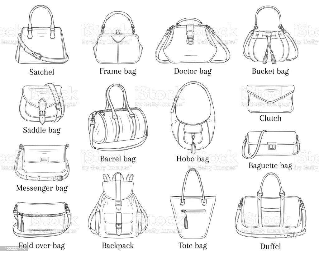 2113e4600d Women Fashion Handbags Collection Vector Sketch Illustration Stock ...