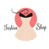 women fashion logo design template dress emblem stock vector art