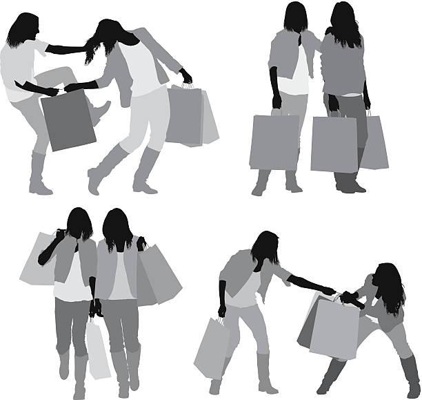 ilustrações de stock, clip art, desenhos animados e ícones de mulheres lutar por saco de compras - puxar cabelos