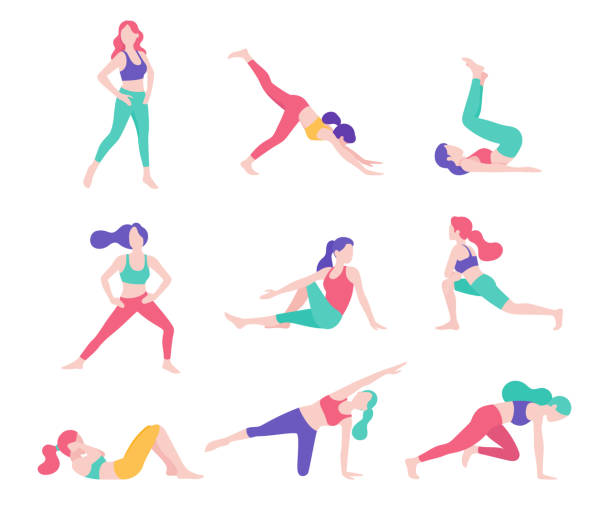 Frauen Fitness Übung Haltung Vektor Illustrationen. – Vektorgrafik