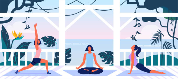 Women Fitness Workout and Yoga Training Open Air Group of Young Women in Sportswear Workout and Yoga Training on Open Air Veranda with Beautiful Sea View. Healthy Lifestyle, Outdoors Fitness Class, Wellness Activity, Cartoon Flat Vector Illustration porch stock illustrations