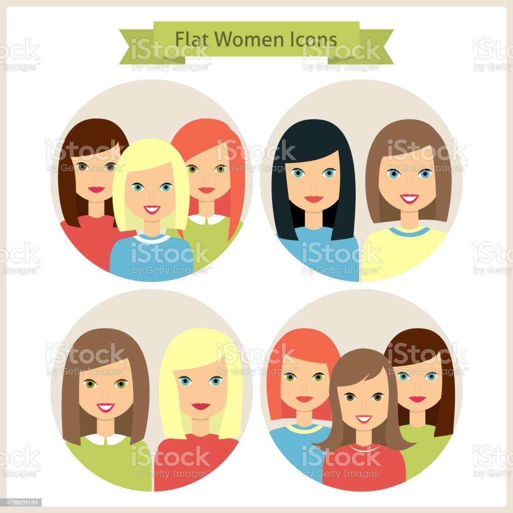 Femmes à caractères Circle icônes Set - Illustration vectorielle