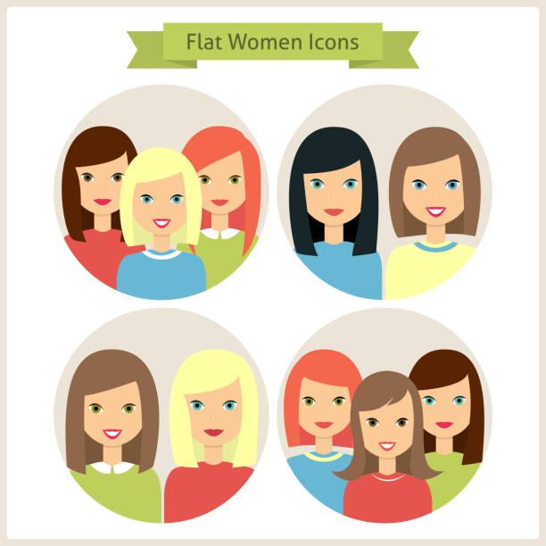 Women Flat Characters Circle Icons Set vector art illustration