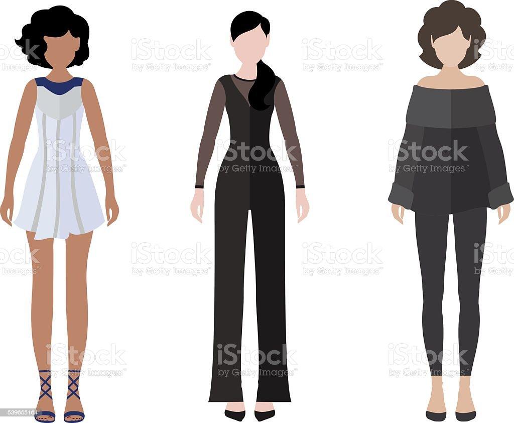 Frauen flachen Stil-Ikone Personen zahlen-set – Vektorgrafik
