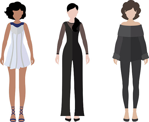 women flat style icon people figures set - business casual fashion stock illustrations