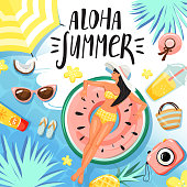 """Set of summer elements. Women floating and sunbathing on inflatable ring. Stylish typography slogan design """"Aloha summer"""" sign. Summer rest and vacation concept. Vector illustration."""
