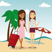 women friendly in the beach vector illustration design