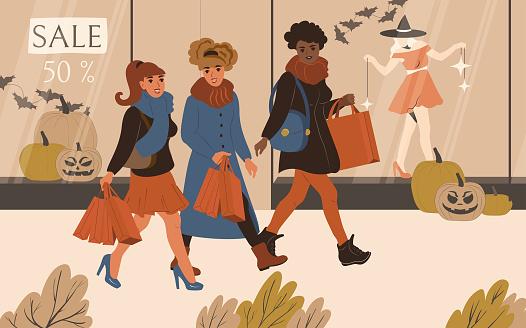 Women friendship shopping at the Halloween