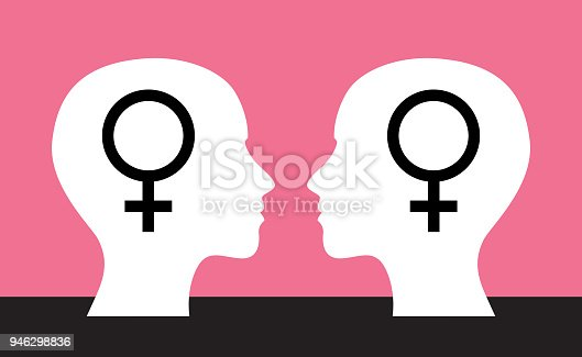 Vector illustration of two female heads facing each other with gender symbols on them.