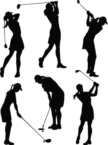 Women golfer silhouettes