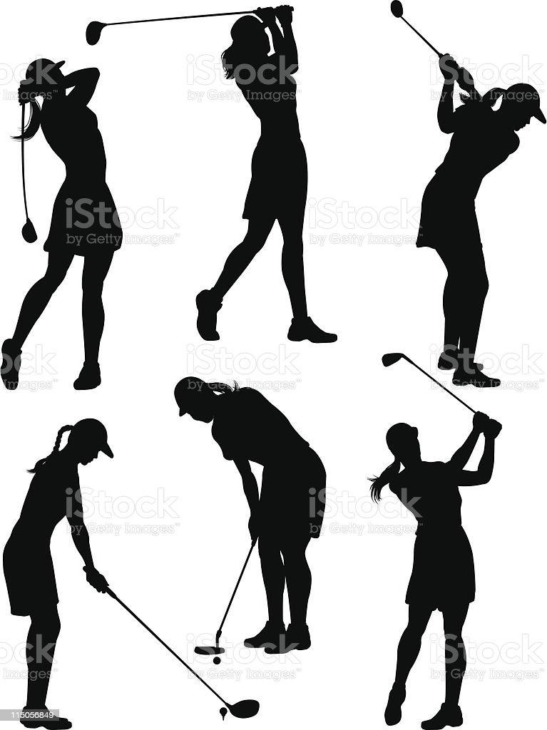 女性ゴルファーのシルエット ベクターアートイラスト
