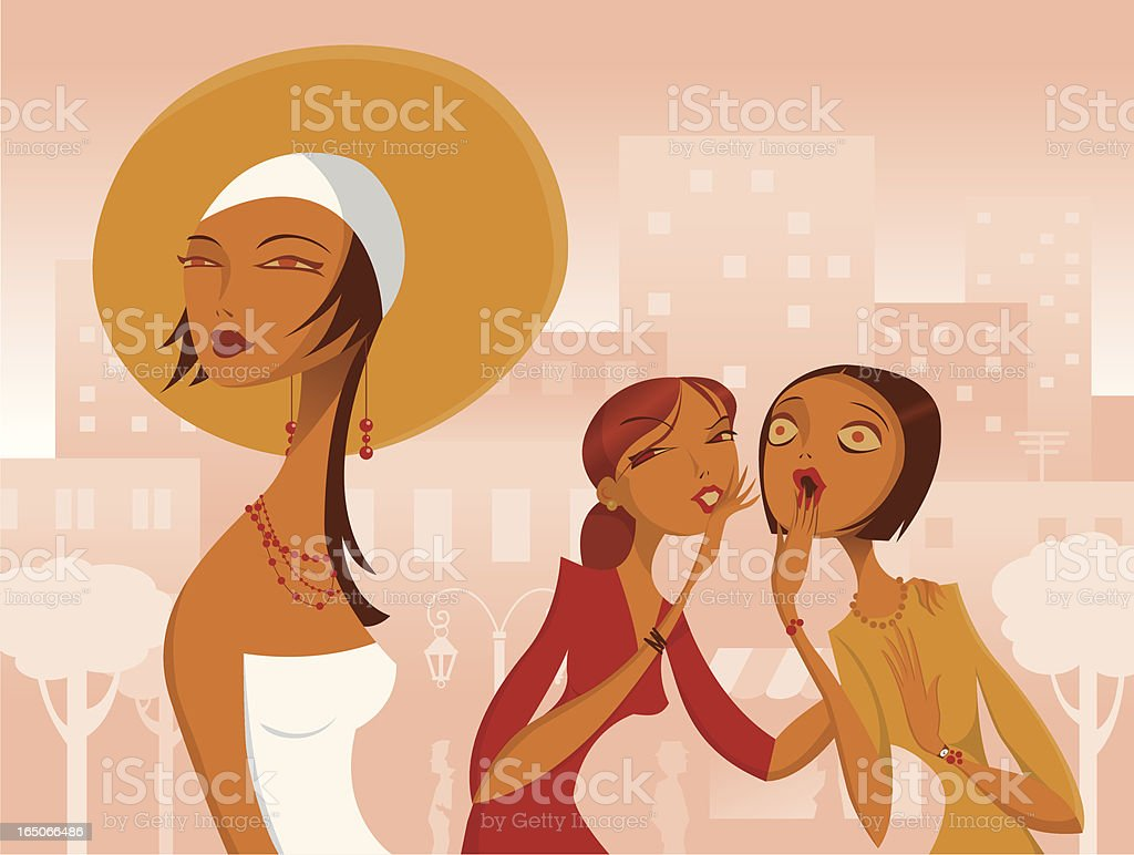 Women Gossiping about Another A woman is whispering something to another about a third. EPS, AI and 3500 x 2634 pixels JPG. Adult stock vector