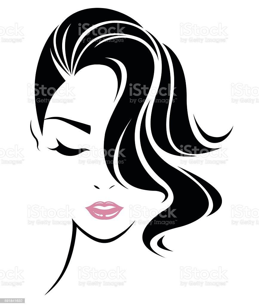 Vetores De Women Hair Style Icon Logo Women Face On White Background E Mais Imagens De Adulto Istock