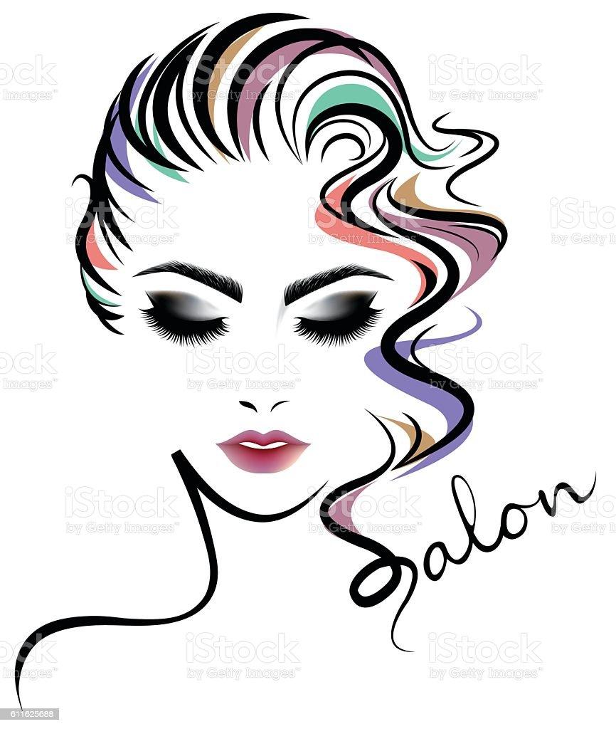 Women Hair Style Icon Logo Women Face On White Background Stock