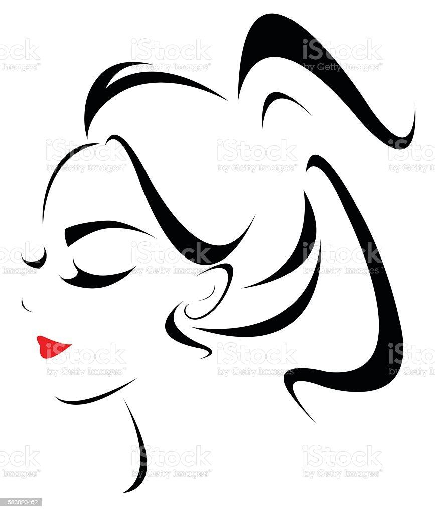 women hair style icon, logo women face vector art illustration