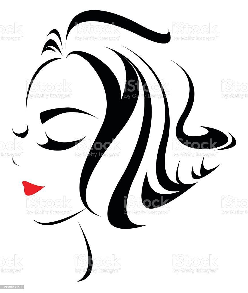Women Hair Style Icon Logo Women Face Stock Vector Art More Images