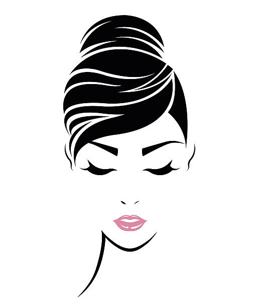 women hair style icon, logo women face - beauty stock illustrations, clip art, cartoons, & icons