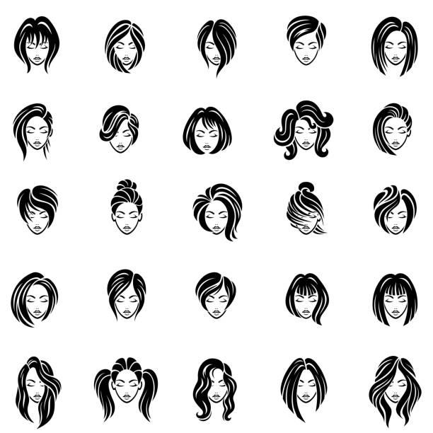 ilustraciones, imágenes clip art, dibujos animados e iconos de stock de conjunto de iconos de peinado de las mujeres - peinado