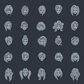 Women hairstyle icon set