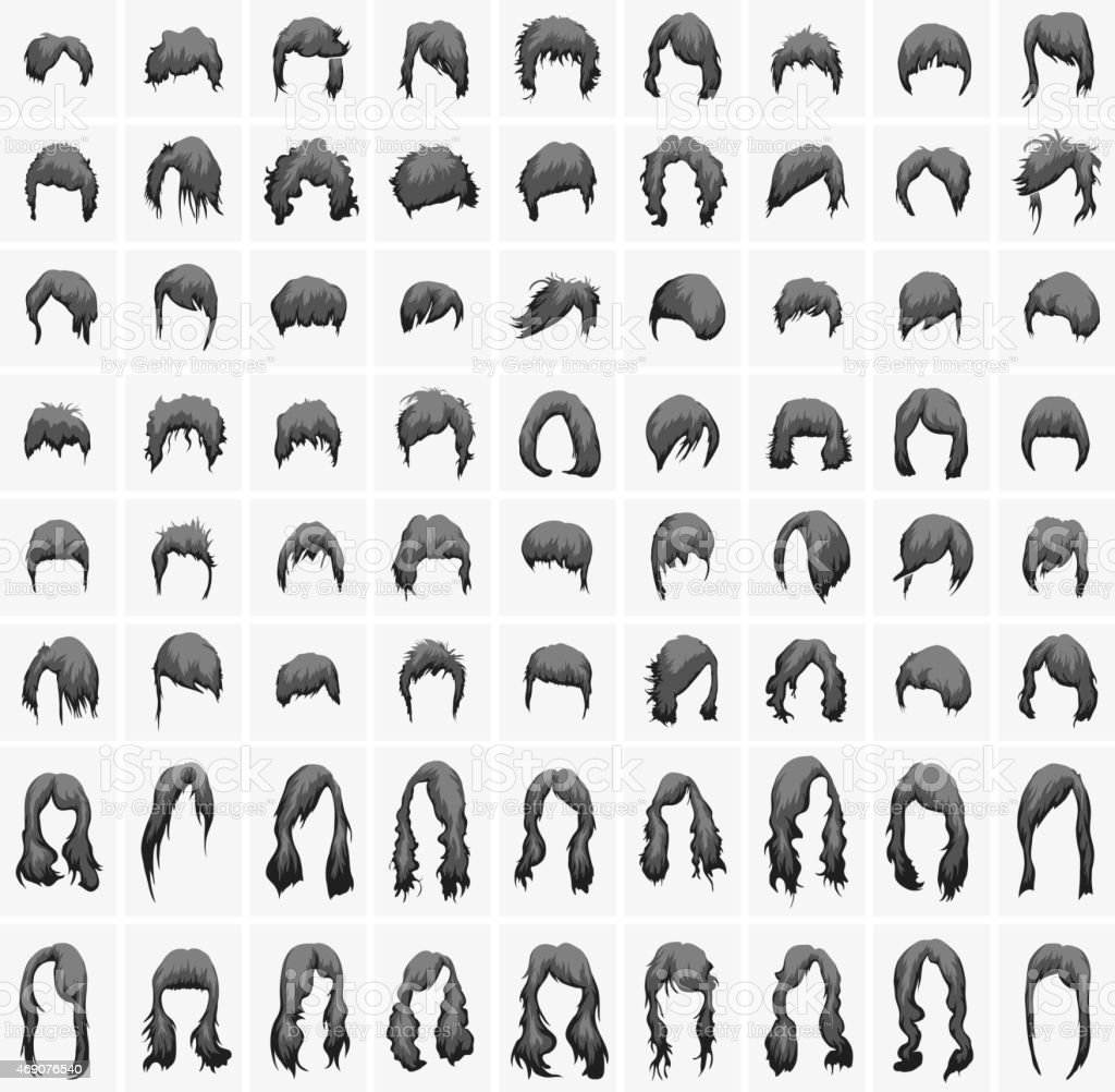 Frisuren Und Haarschnitte Damen In Schwarzen Farben Stock Vektor Art
