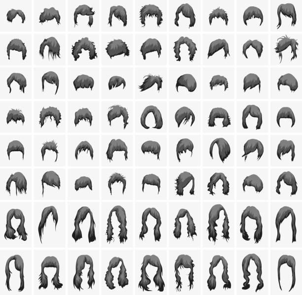 女性ヘアのスタイリングとヘアカット、ブラックの色調 - 髪型点のイラスト素材/クリップアート素材/マンガ素材/アイコン素材