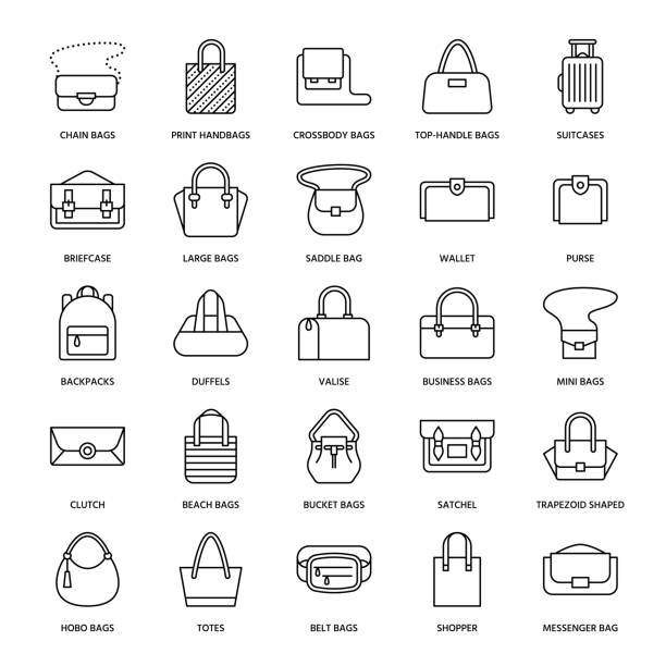 illustrazioni stock, clip art, cartoni animati e icone di tendenza di women handbags flat line icons. bags types - crossbody, backpacks, clutch, totes, hobo, leather briefcase, luggage. trendy accessories thin linear signs for fashion store - borsetta