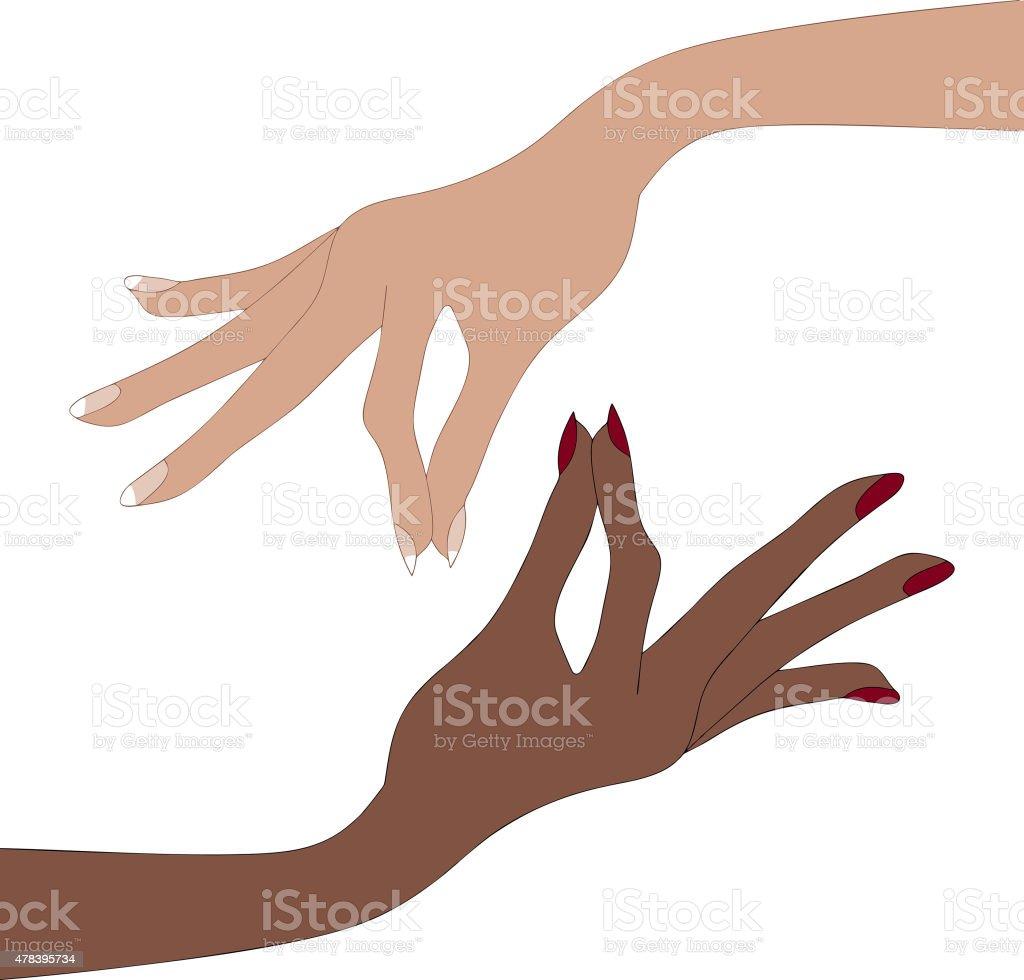 女性手指イラストあたりません イラストレーションのベクターアート