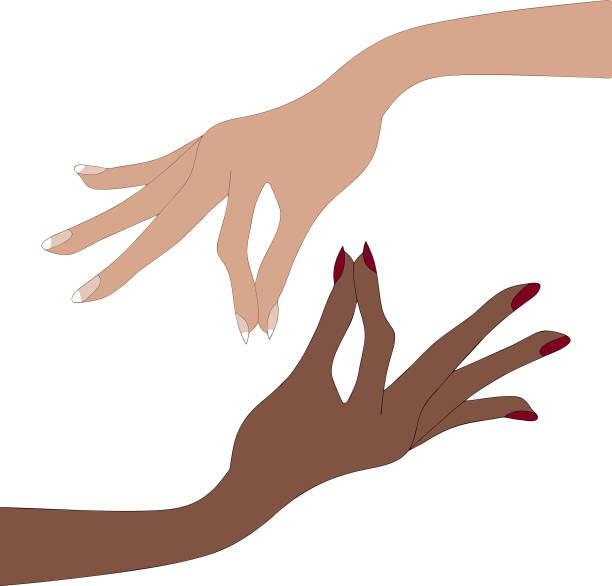 Women hands, pinching fingers illustration vector art illustration