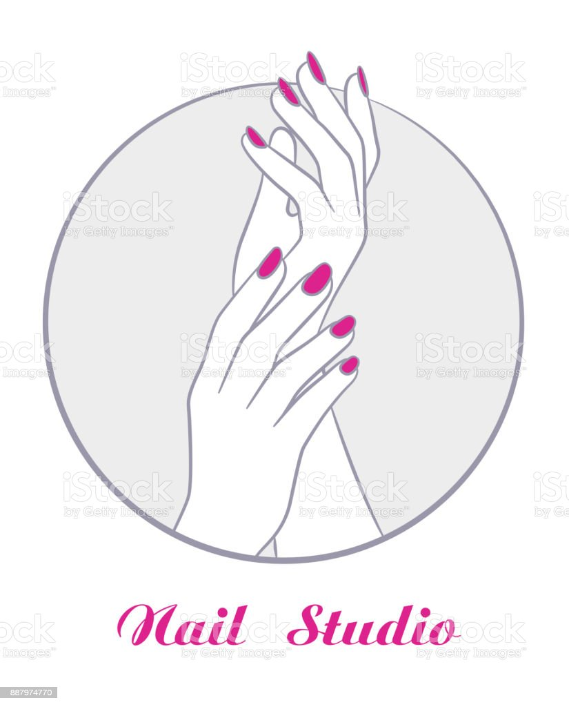 women hands with manicure fashion salon symbol vector stock vector art  u0026 more images of adult