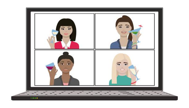 illustrazioni stock, clip art, cartoni animati e icone di tendenza di women hangout and have remote screen video chat party in house with wine - hand on glass covid