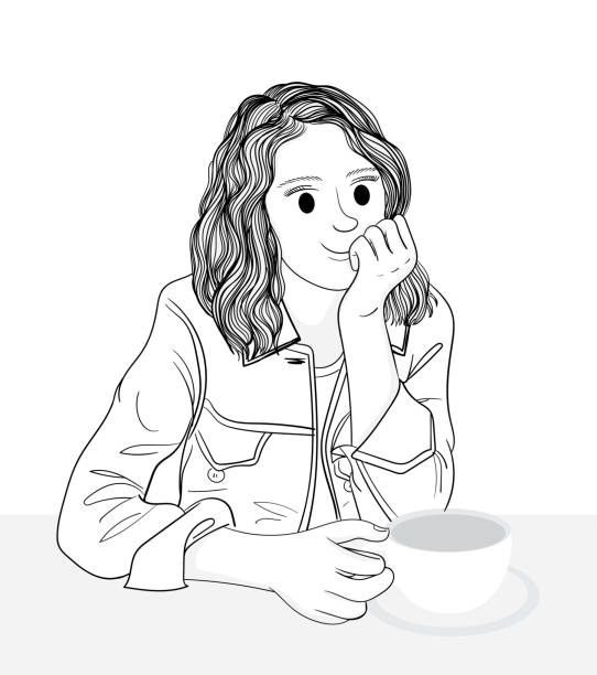 Women happily drink coffee in the shop during the holidays.Doodle art concept,illustration painting vector art illustration