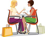 Vector Illustration of two women having drinks and talking after shopping