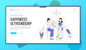 Women Having Leisure Sparetime Website Landing Page. Couple of Girl Friends Sitting at Table with Food Drinking Beverages and Communicating Web Page Banner. Cartoon Flat Vector Illustration, Line Art