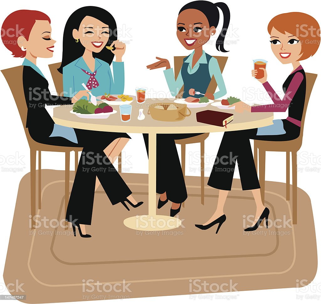 Women Having Lunch Together vector art illustration
