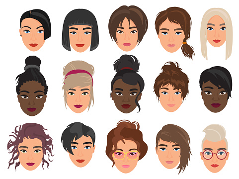 Women heads avatars characters flat cartoon vector illustration set isolated on white background. Beautiful light and dark faces, fashionable various modern and alternative haircuts.