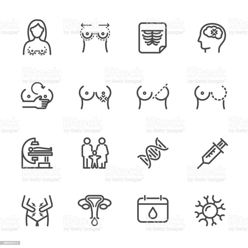 Women health, Breast Problems and Monthly menstrual. Vector line icon vector art illustration